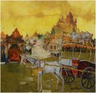 Shyamal Dutta Ray-Temple and Chariot-Monart Gallerie Indian Art Gallery